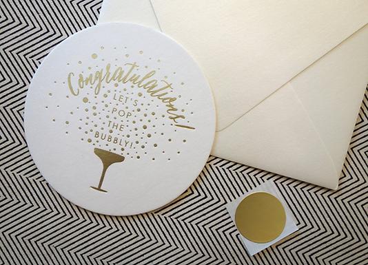 """Congratulations"" Gold Foil Letterpress Card by Pennie Post"