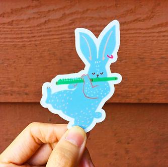 Jazz Flute Rabbit Sticker by Harumo Bakery