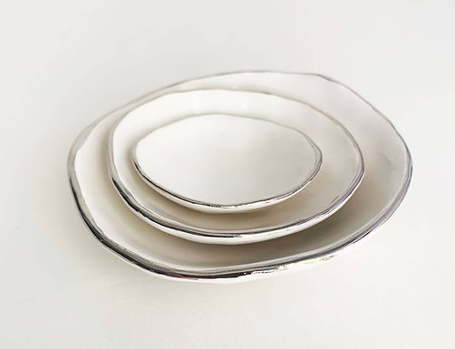 Nesting Jewel Dish Set (Silver or Gold set of 3) by Jennifer Huskey