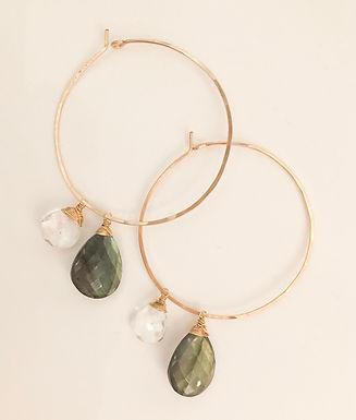 Faceted Labradorite & Quartz Light hoop earrings