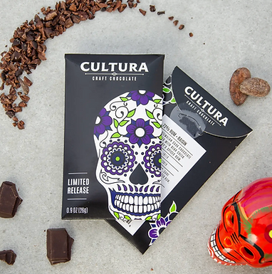 Limited Release 72% Rum + Raisin Chocolate Bar by Cultura Chocolate
