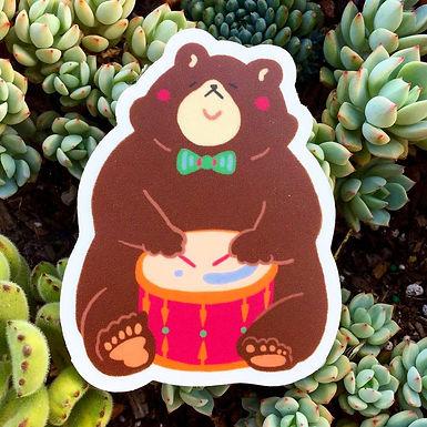 Drummer Bear Sticker by Harumo Bakery