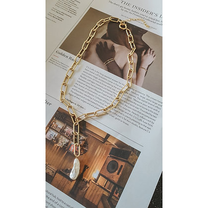 LONG MAJESTY GOLD PLATED CHAIN & PEARL