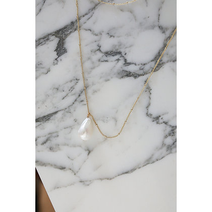 GOLD & THIN PLATED NECKLACE WITH INTENSE PEARL