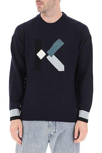 KENZO Maglia in lana con logo tramato