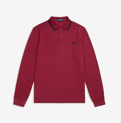 FRED PERRY Polo manica lunga in piquet di cotone