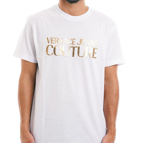 VERSACE JEANS COUTURE  T-shirt con stampa oro