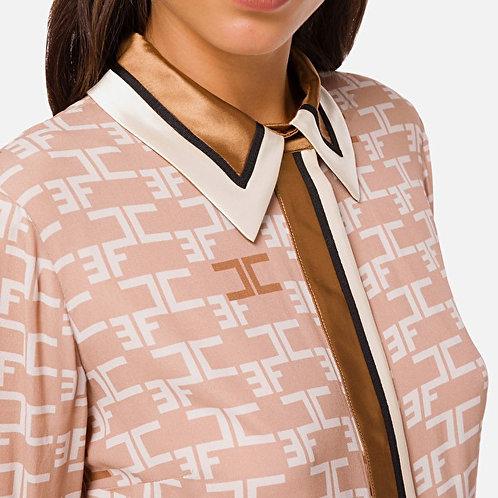ELISABETTA FRANCHI Camicia con stampa logo e piping in contrasto