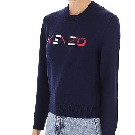 KENZO Maglia in lana con logo ricamato