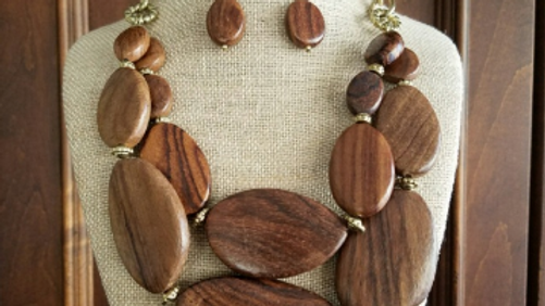 Chunky Brown Necklace Set