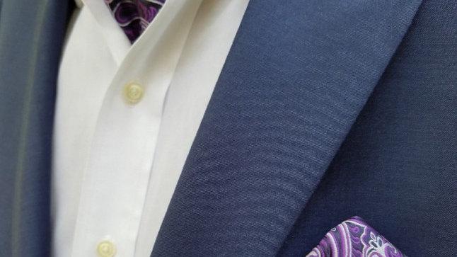 Purple Paisley Ascot & Pocket Square Set
