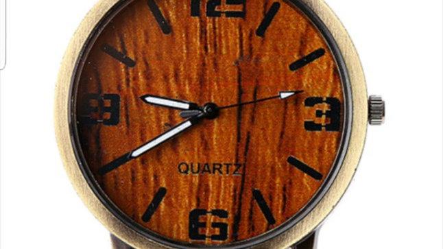 Men's Faux Wood Casual Watch