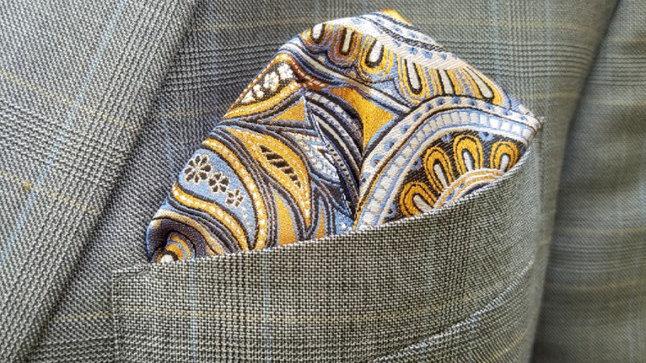 Blue & Gold Paisley Pocket Square