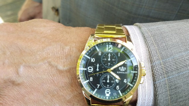 Men's Gold Dress Watch, Black w Dial