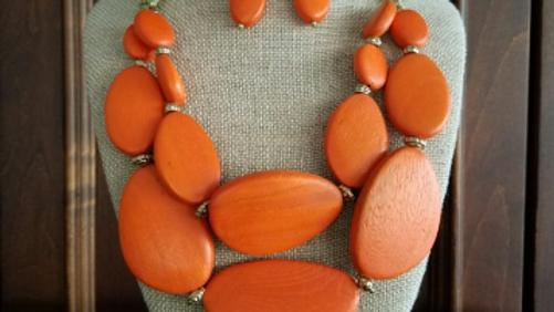 Chunky Orange Necklace Set