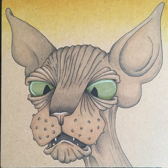 Instagram - 3rd #Sphynx is done! #hairless #cat #cats #draw #drawing #illustrati