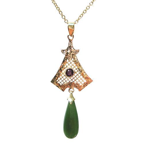 Antique Nephrite Jade & Amethyst 14K Gold Lavalier