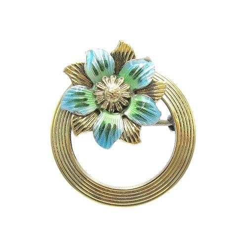 Retro Blue Enamel, 14K Gold, & Silver Wreath Pin
