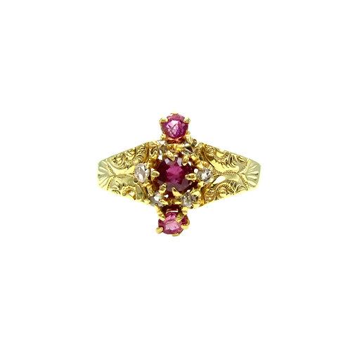 Antique Ruby & Rose Cut Diamond 18K Gold Ring