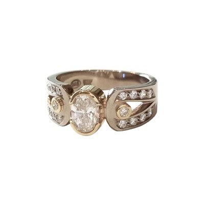 1.01CT Oval Custom Made Diamond Engagement Ring