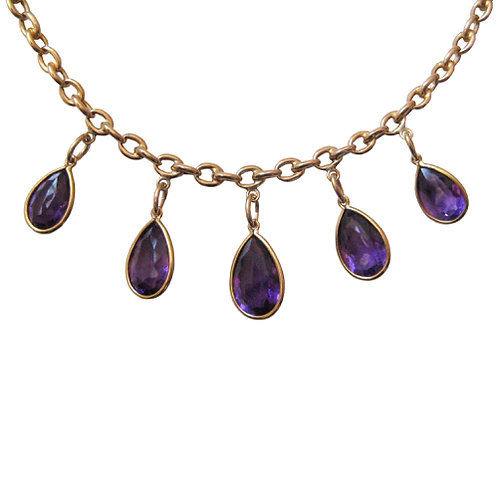 Antique Pear Shaped Amethyst Choker Necklace