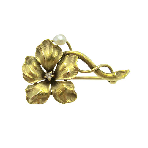 Whiteside & Blank Diamond & Pearl Flower Brooch