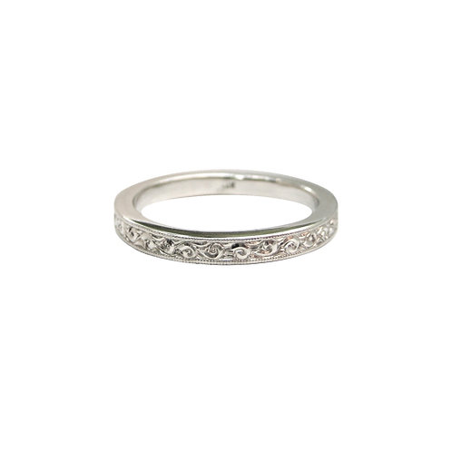 Hand Engraved White Gold Wedding Band