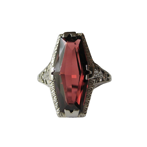 Garnet Filigree 18K White Gold Ring