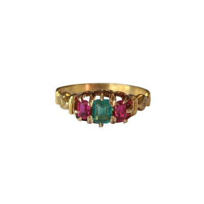 Early Victorian English Ruby & Emerald 18K Ring