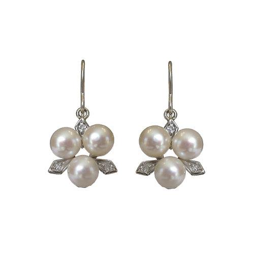 Pearl & Diamond White Gold Earrings