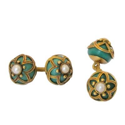 Malachite & Pearl Antique Cufflinks
