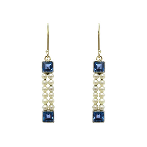 Art Deco Pearl, Sapphire, 14K Gold Milgrain Vintage Earrings
