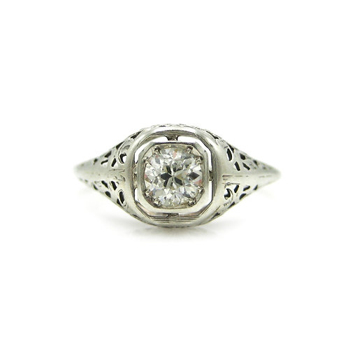 Vintage Old Euro Diamond Filigree Engagement Ring