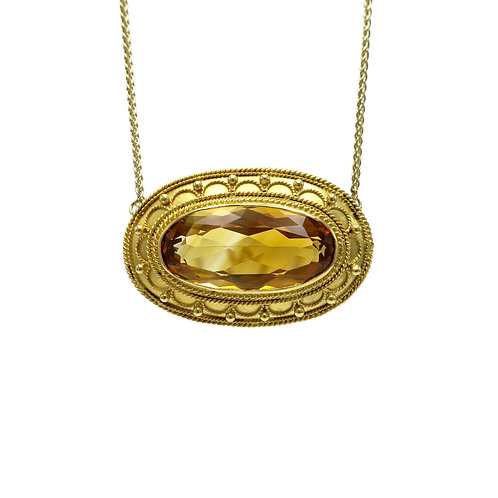 Antique Etruscan Revival Oval 8.70ct Citrine & Gold Granulation Necklace