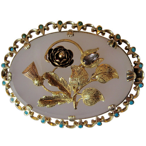 Victorian Thistle & Flower Brooch