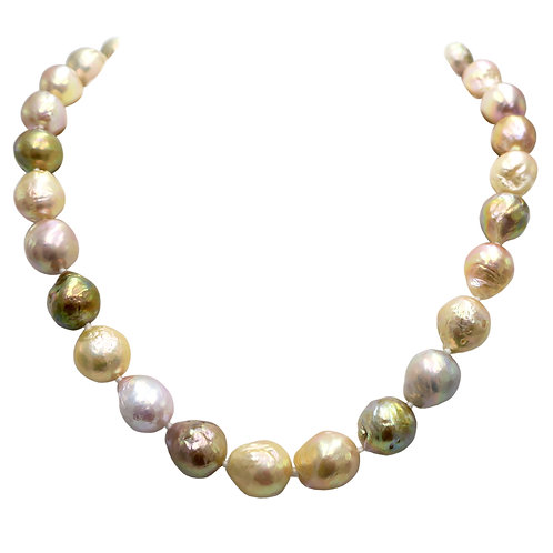 Pink Peacock 14mm Natural Freshwater Pearl 14K Gold Necklace