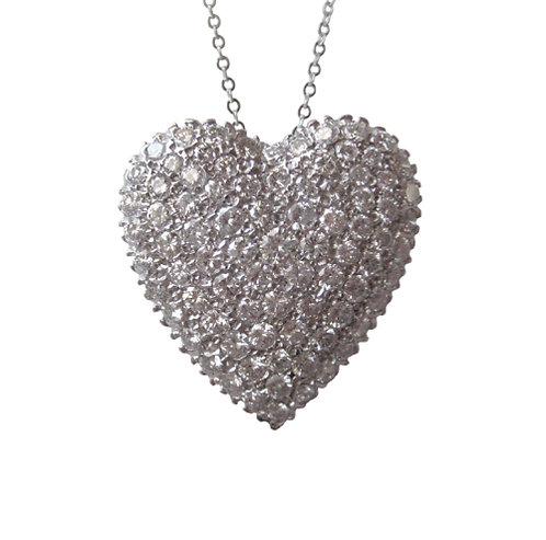 Diamond Encrusted Heart Pendant/Brooch