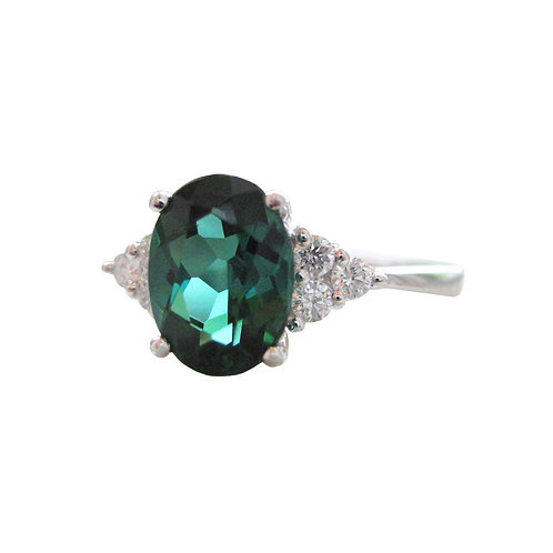 1.21 CT Green Tourmaline & Diamond Engagement Ring