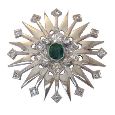 1.3 Carat Emerald Starburst Brooch