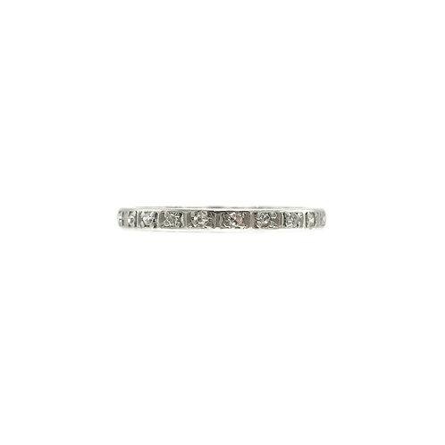 Vintage Engraved .20ctw Single Cut Diamond & Platinum Eternity Band