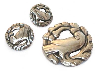 Georg Jensen Sterling Silver Earrings & Brooch Set