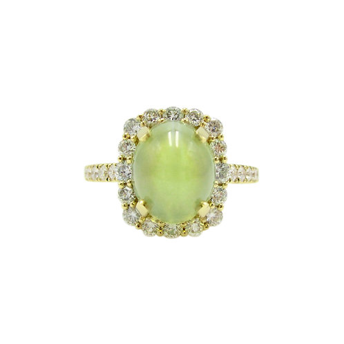 5 Carat Cat's Eye Chrysoberyl & Diamond 18K Ring