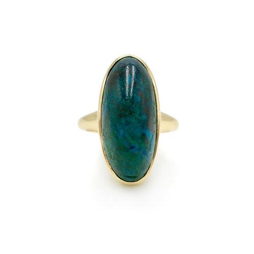 Antique Azurite-Malachite Cabochon 10K Rose Gold Navette Ring
