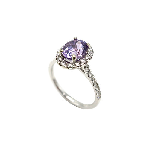 1.95 Carat Purple Spinel & Diamond Halo Ring