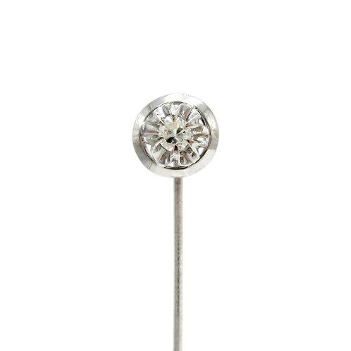 Diamond 18K White Gold Vintage Stick Pin