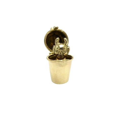 Vintage 14K Gold Cocktail Shaker & Devil Charm