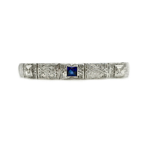 Vintage Sapphire, Diamond, 14K White Gold Filigree Art Deco Bracelet
