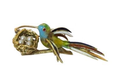 Italian Enamel & Pearls 18K Bird Brooch
