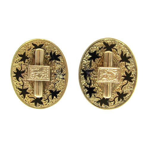 Victorian Taille d'Epargné Screw-Back Earrings