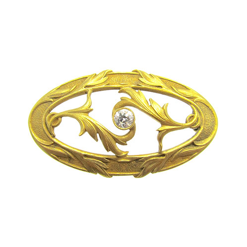 Hayden W. Wheeler Art Nouveau Diamond Brooch